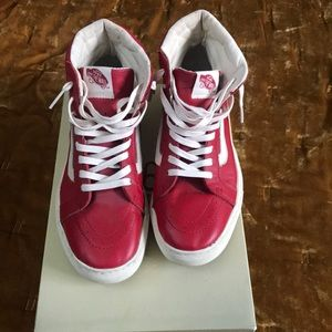 Red leather high top vans